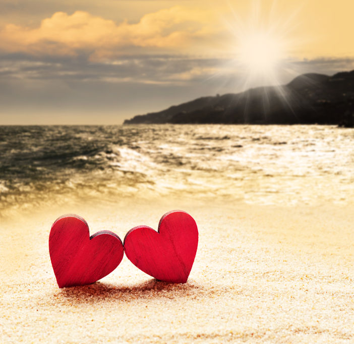 Two hearts on a beach
